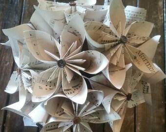 Sheet music paper flower, sheet music flower, Paper flowers, Sheet music wedding bouquet