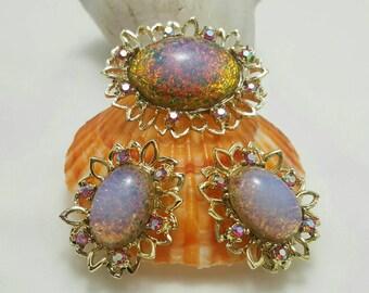 Foiled Glass Pin & Earrings
