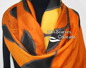 Silk Scarf Hand Painted. Silk Shawl Yellow Terracotta Black. Hand Dyed Silk Scarf MAGIC TREE. ExtraLarge 22x72. Mother Gift. Free Gift-Wrap