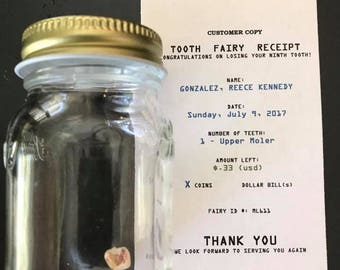 Personalized Tooth Fairy Receipt