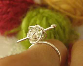 crochet me somethin' ring - sterling silver crocheting ring, gift for crocheter, crocheter jewelry, for the love of crocheting