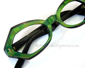 60's French Eccentric Checkered Large Thick Eyeglass Frames Iridescent Shades of Green
