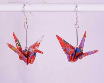 Origami Crane Earrings - Japanese Origami Earrings (Pair) for Good Luck, Handmade with Hook - Colourful Flowers