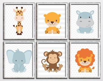 Nursery printable safari and jungle animals wall art set, lion hippo giraffe monkey nursery wall art, kids room wall decor download
