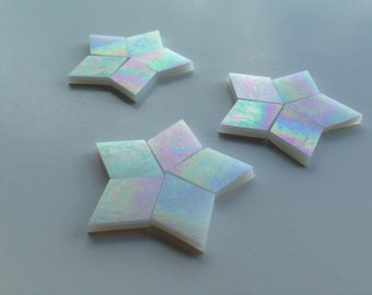Mosaic Tiles - 100 Diamonds for FIVE-POINT STARS- Iridescent White Stained Glass