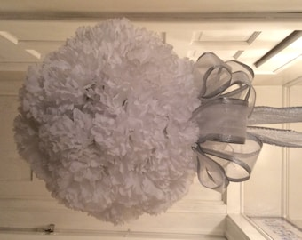 White Carination Kissing Ball, Carination Pomander Ball, White Wedding Pomander Ball, White Holiday Kissing Ball, White Pomander Ball