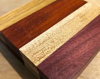 Hardwood Coasters (Canarywood, Padauk, Maple, Purpleheart)
