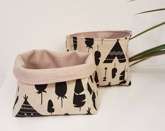 Tipi Collection, fabric storage basket, storage bin from linen, box bin bucket