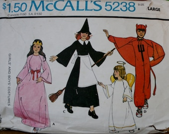 Mcalls 5238 Childs Vintage Queen, Princess, Witch, Angel, Devil Sewing Pattern Size Large