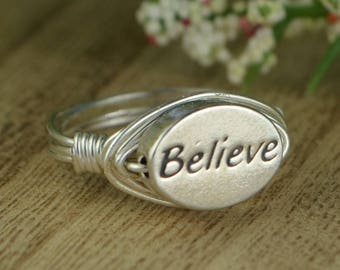 Believe Message Wrapped Ring- Sterling Silver, Yellow or Rose Gold Filled Wire with Oval Pewter Bead - Any Size 4 5 6 7 8 9 10 11 12 13 14
