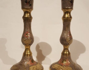 Pair of Decorative Solid Brass and Enamel Candle Holders - Made in India