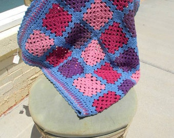 Blue Granny Square Hand Crochet Afghan