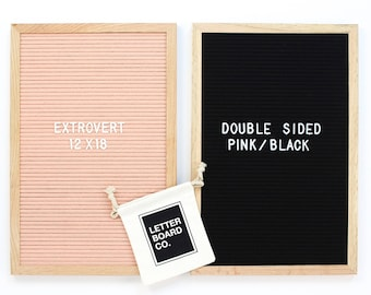 "Double-Sided 12 x 18"" Antique Pink/Black Extrovert Letter Board - Oak Frame Letter Board and 300+ Letter Set"