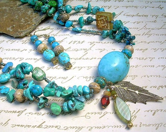 Boho Turquoise Necklace Antique Brass, Charms And Czech Beads, Southwestern Ethnic