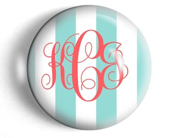 Monogram paperweight, preppy stripes, custom paperweight, large round personalized desk accessory, girlfriend gift for boss, teacher gift.
