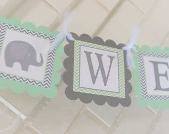 Welcome baby banner, elephant baby shower banner welcome baby boy welcome baby girl elephant welcome banner, baby elephant banner, green