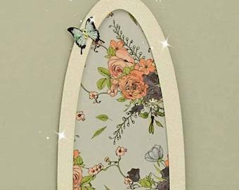 Vintage Rose Fairy Door, Indoor Fairy Door, Skirting Board Fairy Door, Shelf Sitting Fairy Door, Handmade by Jennifer