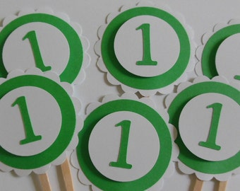 1st Birthday Cupcake Toppers - Green and White - Gender Neutral - Child Birthday Party Decorations - Set of 6