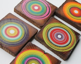 Boho Coasters Made from Reclaimed Barn Beam Wood - Hand Painted - Set of 5  (5RBBWC3)