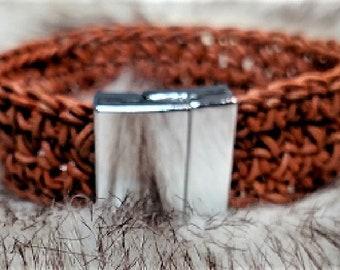 Leather crochet cuff