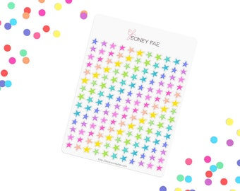 Bright Confetti stars Stickerset-Watercolour sticker-Pretty planning-scrapbooking-bullet journaling