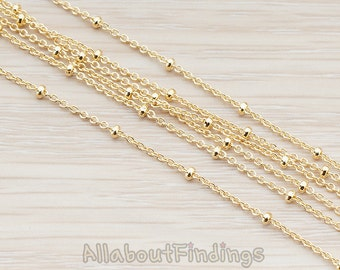 CHN012-G // Glossy Gold Plated Ball Cable Chain, 1 Meter.