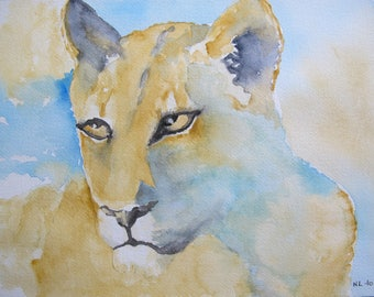 Lioness in shades of ochre and blue watercolor