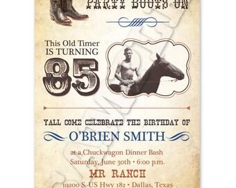 Printable Western Birthday Invitation with Photo