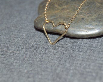 gold heart necklace, wire heart necklace, simple everyday, open heart necklace, gifts for her, love symbol jewelry, dainty minimalist