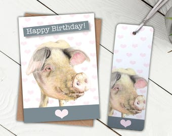 Pig Birthday Gift Set,  Birthday Card and Bookmark, ideal gift for farmers, livestock and animal lovers, affordable present, farmyard animal