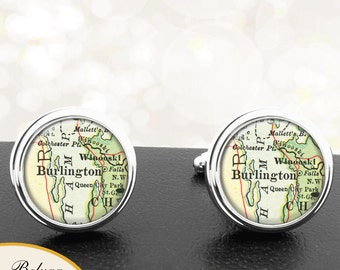 Map Cufflinks Burlington VT Cuff Links State of Vermont for Groomsmen Wedding Party Fathers Dads Men