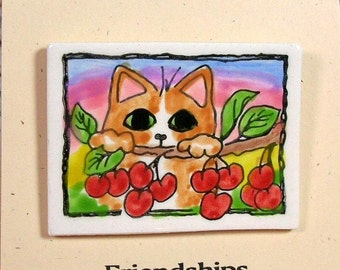 Cat In The Cherry Tree Clay Pin Handmade by Grace M Smith Earthenware Ceramic