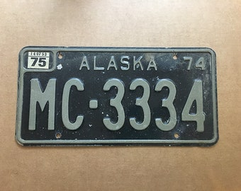 Vintage Alaska License Plate 1974 | Rusty | Man Cave Decor | Old Collectible | For Him | Garage