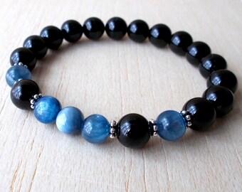 Blue Kyanite Bracelet, Kyanite Bead Bracelet, Genuine Gemstone Bracelet, Blue Kyanite Jewelry, Black Tourmaline Mala Bracelet, XtraClaire