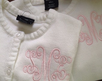 Girls Monogrammed / Personalized / Embroidered / Pink sweater, white sweater, navy sweater or blue jacket
