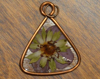 Handmade pendant with recycled copper and pressed salmonberry