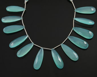 Aqua Blue Chalcedony, Faceted Pear, AAA Quality Gemstones Appx. 9x22-11x33mm, 1 Strand (AQCL/9x22-11x33/Pear)