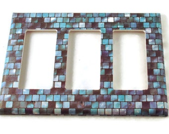 Triple Rocker Light Switch Cover Wall Decor Light Switchplates  Switch Plate in Tranquil Tiles (203TR)
