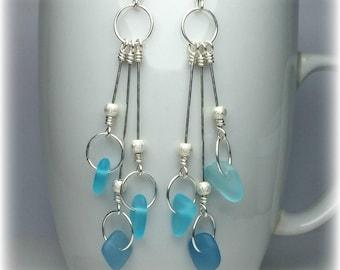 Sea glass earrings Sterling silver Drop earrings Turquoise blue earrings Sea glass jewelry Long Dangle earrings Womens Jewelry Gift for wife