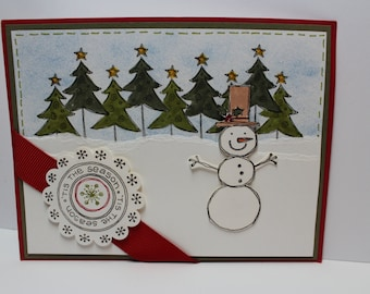 Hand stamped Christmas Card, Snowman Card, Olaf Card, Stampin' Up card