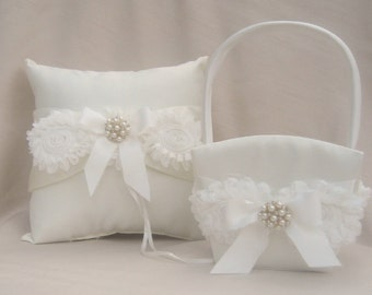 Flower Girl Basket, Flower Girl Basket Flower Girl Basket and Pillow, Ring Bearer Pillow and Flower Girl Basket Set Shabby Chic
