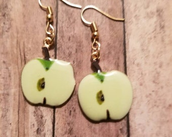 Green Apple Earrings Dangle Earrings Gifts for Her Statement Earrings Fruit Earrings Kawaii Earrings Kitsch Earrings Novelty Earrings
