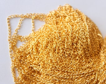 Chain gold tone thin, 48 cm, set of 5 approx 2.4 m