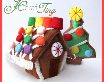 Gingerbread House PDF pattern - Tree Set
