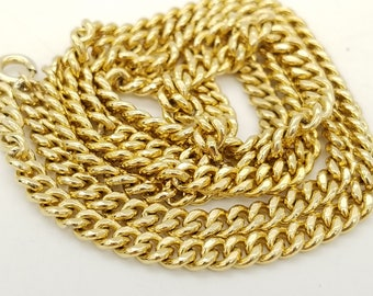 """Vintage 4mm Gold Plated Curb Chain Necklace - 24"""""""