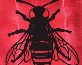Tea Towel, Red Tie Dye Screenprint 'Bee'
