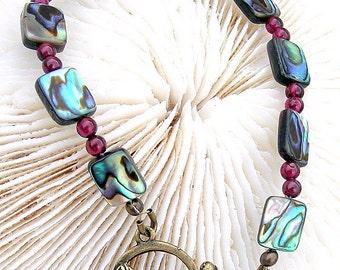 Antique Brass Bracelet Abalone and Garnet Jewelry,JewelryB024
