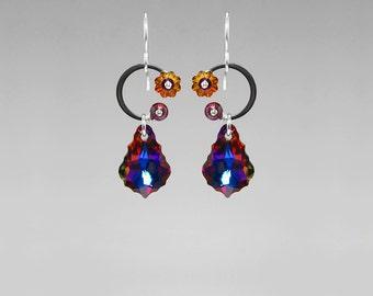 Swarovski Crystal Earrings, Volcano Crystals, Industrial Earrings, Industrial Jewelry, Wire Wrapped, Youniquely Chic, Eos II v10