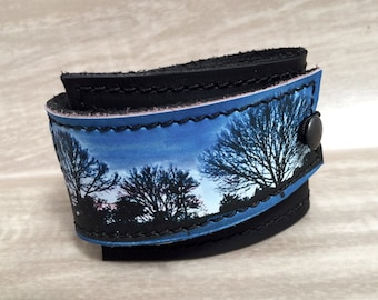 Leather Cuff Bracelet Women's Wrap, Tree Sunset Digital Photo Print on 100% Genuine Leather * SALE * Coupon Codes