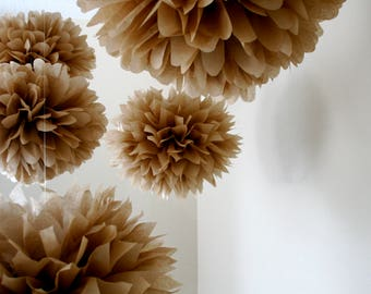 Neutral Tan tissue paper pompoms kraft brown fall rustic barn wedding wall decorations aisle marker baby bridal shower gender reveal taupe